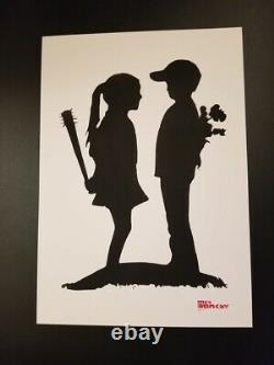 By Mrs Banksy Boy meets Girl Banksy Signed spray print sold out A3-paper