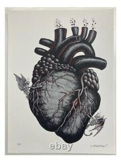 Emek Black Heart Print Natural Sold Out 11.5x8.5 Limited Edition Of 75
