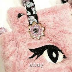 Irregular Choice Cat Call Pink Furry NEW Unique Sold Out Designer Handbag