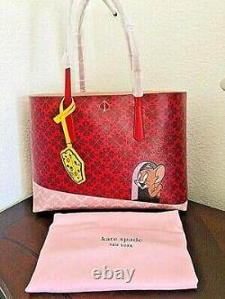 Kate Spade Tom & Jerry Large Tote Bag Purse Cat Mouse Cheese Red Sold out Last 1