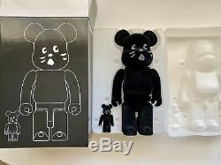NYA Flocked Bearbrick 400% 100% Collectible Art Black Limited Rare Sold Out