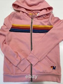New Aviator Nation Size Small 5 STRIPE Zip Hoodie, Pink. Sold Out! $189