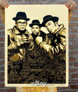 Obey Giant Shepard Fairey RUN DMC Raising Hell Gold Signed/Numbered SOLD OUT