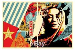 SHEPARD FAIREY Sold Out RARE Welcome Visitor 2 PRINT SET (Diptych) 2017