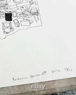 SOLD OUT SIGNED Katherine Bernhardt 2016 numbered limited edition drawing PRINT
