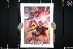 Sideshow DC SUPERGIRL and POWER Girl Art Print Alex Garner 64/250 Sold Out
