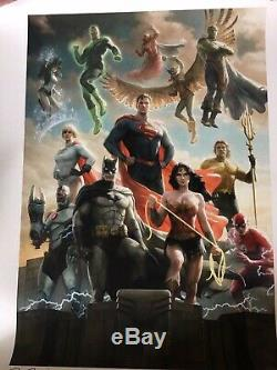 Sideshow mondo Justice League SIGNED Art Print poster 18x24 xx300 sold out RARE