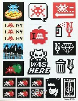 Space Invader Signed Sticker Print Sold Out ed200 with Dface Shepard Fairey