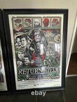 Star wars by Tyler Stout Set of 3 prints Rare Sold out Mondo print FRAMED