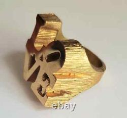 Vtg 70s Pop Art Robert Indiana LOVE Sculpture Gold Ring ORIGINAL BOX FREEUSHIP